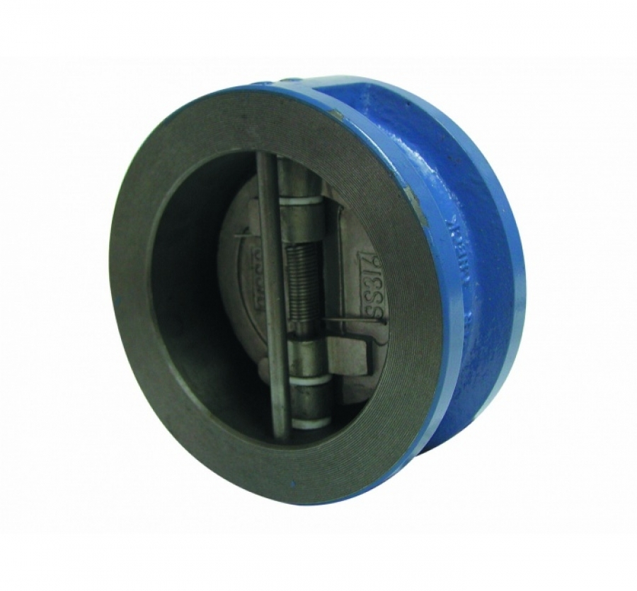 Обратный клапан двухстворчатый межфланцевый корпус-чугун, диск-нерж. сталь Ду 50 (Артикул:2401 09)